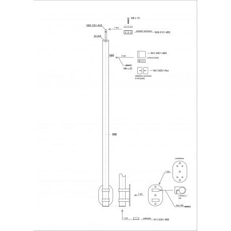 Słupek nierdzewny fi 42,4mm końcowy